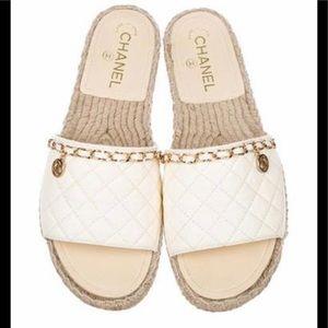 Chanel Lambskin Espadrille Slip on Sandals
